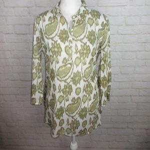 Lucky Brand Green Floral Print Pop Over Tunic